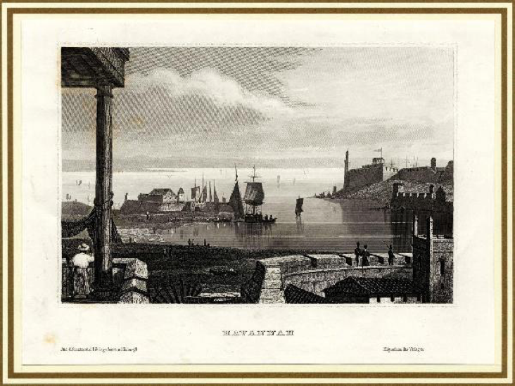 An engraving showing the port of Havannah.