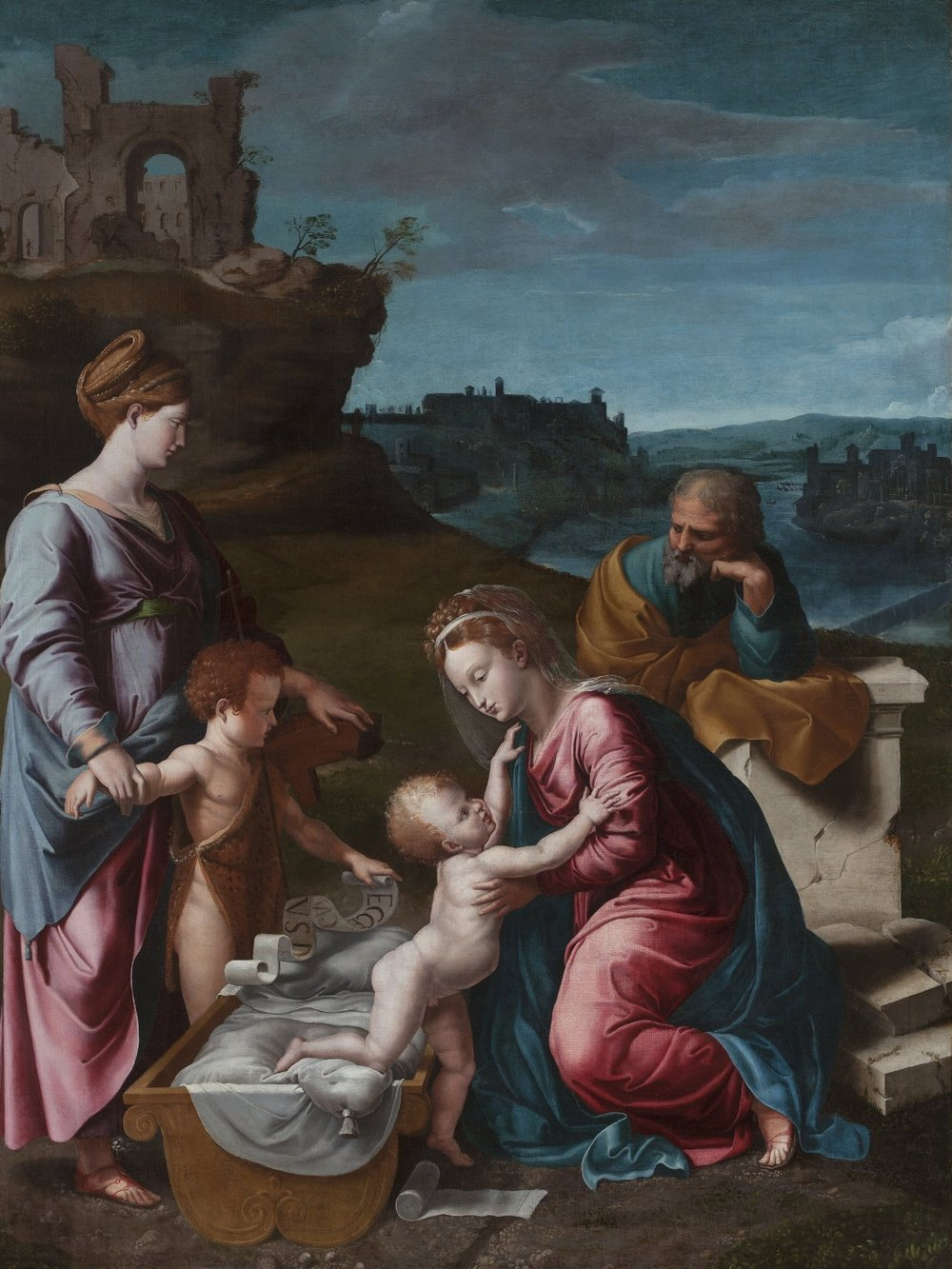 GIOVANNI FRANCESCO PENNI    Holy Family with St. Catherine of Alexandria and the Young St. John the Baptist