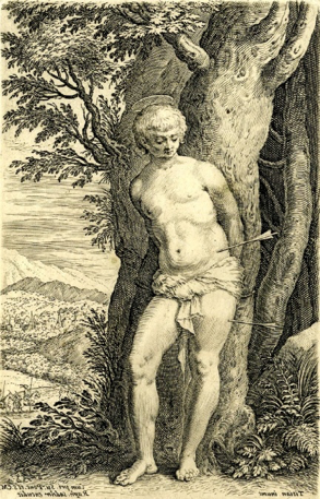 Raphael Sadeler, engraving after Titian, Saint Sebastian