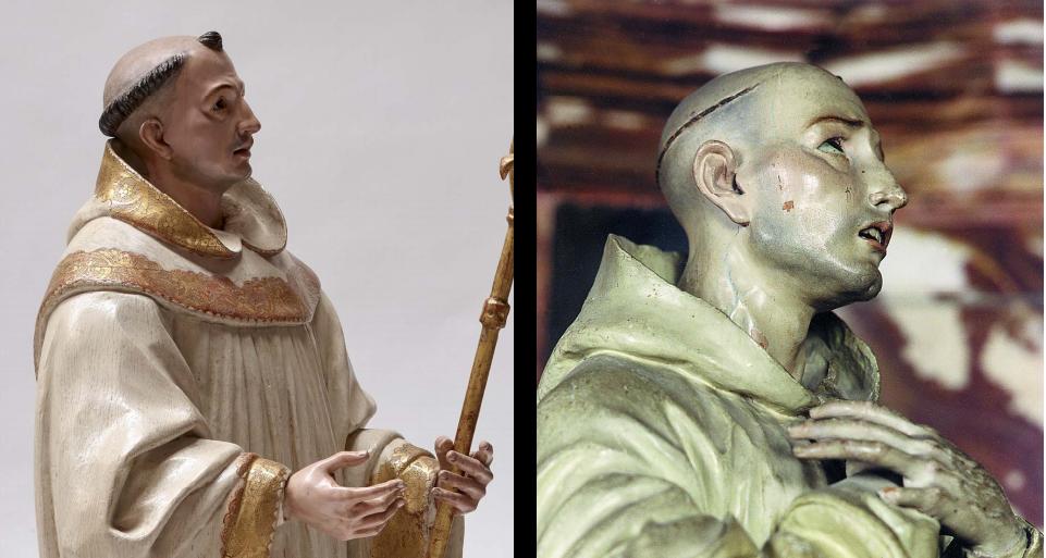 Fig. 1A Comparison of the present work with José de Mora, San Bruno, Granada, Cartuja