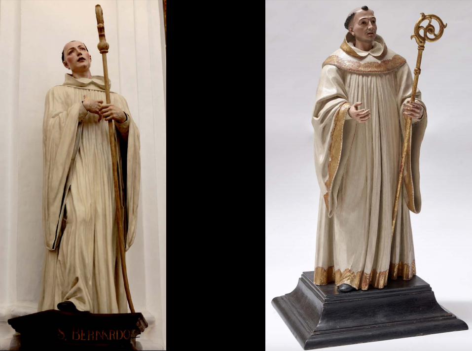 Fig. 2A Comparison of the present work and José de Mora, Saint Bernard from the capilla del Cardenal Salazar, Catedral de Córdoba