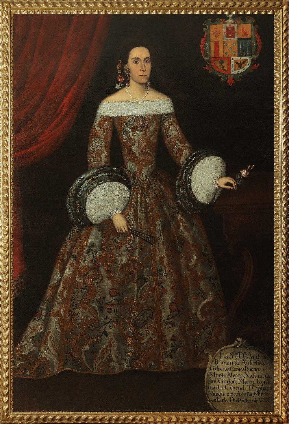 Spanish Colonial School, Peru, Eighteenth Century,  Portrait of Doña Andrea Roman de Aulestia y Cedreros y Gomez-Boguete y Monte Alegre