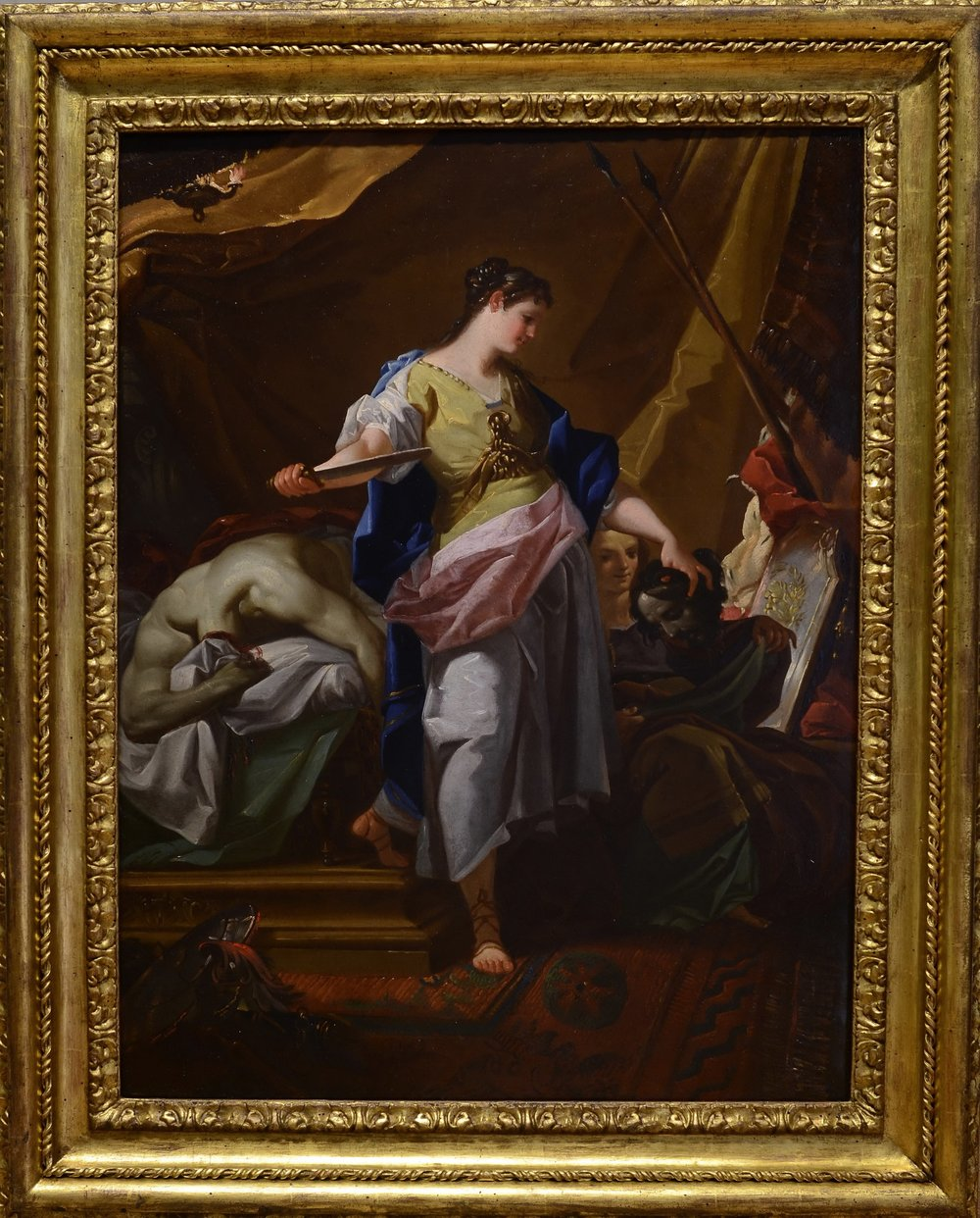 CORRADO GIAQUINTO   (Molfetta 1703 – 1766 Naples)     Judith and Holofernes     Oil on copper  35 1/8 x 26 3/8 inches  (89 x 67 cm)
