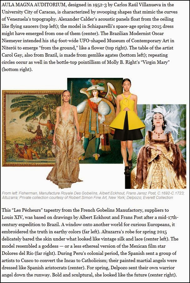 A T | The New York Times Style Magazine article featuring one of our Latin American Works. To read this article please go to:   https://www.nytimes.com/2015/03/26/t-magazine/in-the-air-latin-glamour.html