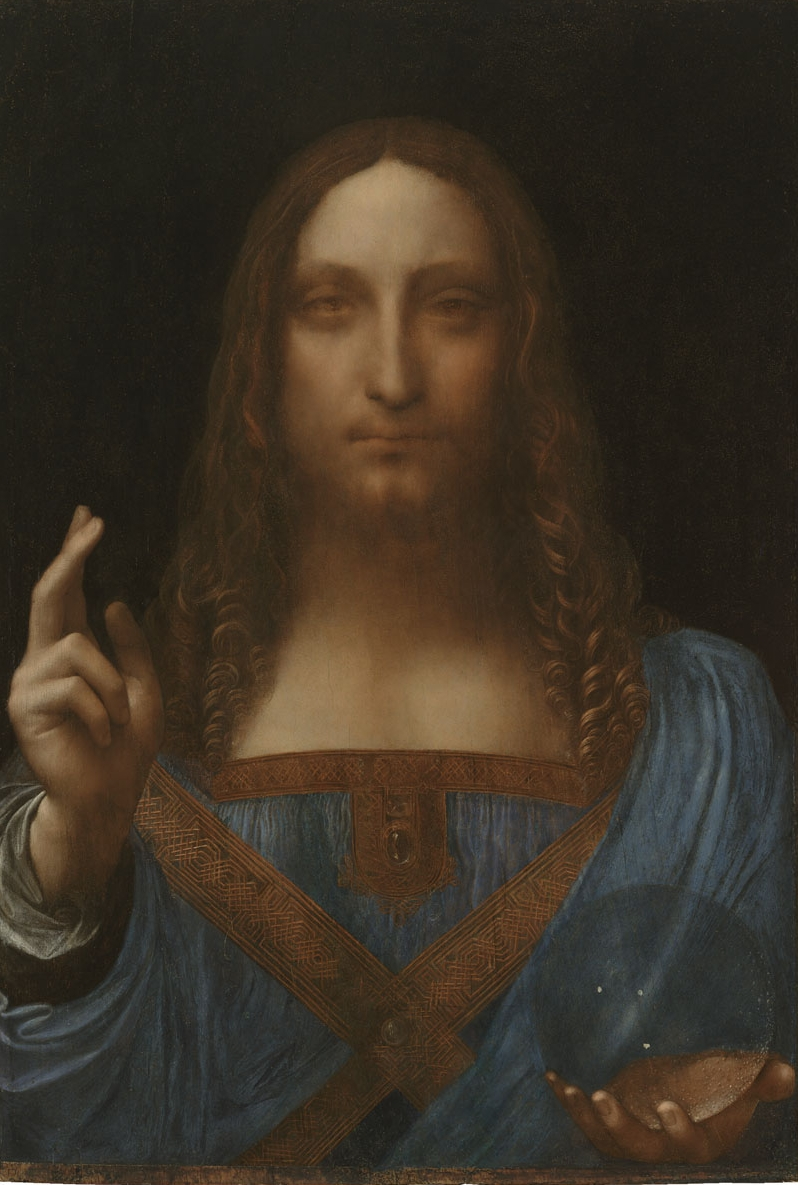 Leonardo da Vinci   (Italian, 1452-1519)  Salvator Mundi  Oil on panel Private Collection © 2011 Salvator Mundi LLC Photograph:  Tim Nighswander/Imaging4Art