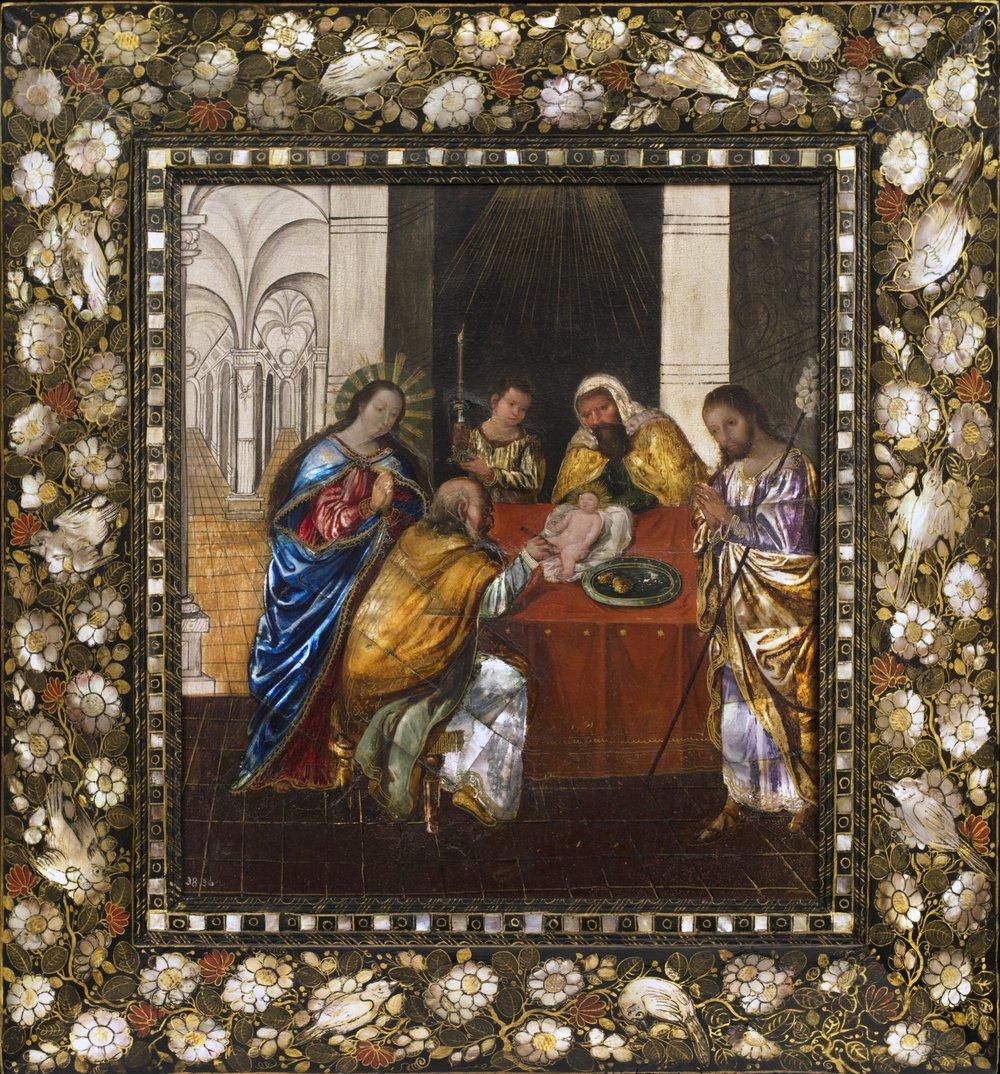 Mexican Enconchado,  The Circumcision of Christ