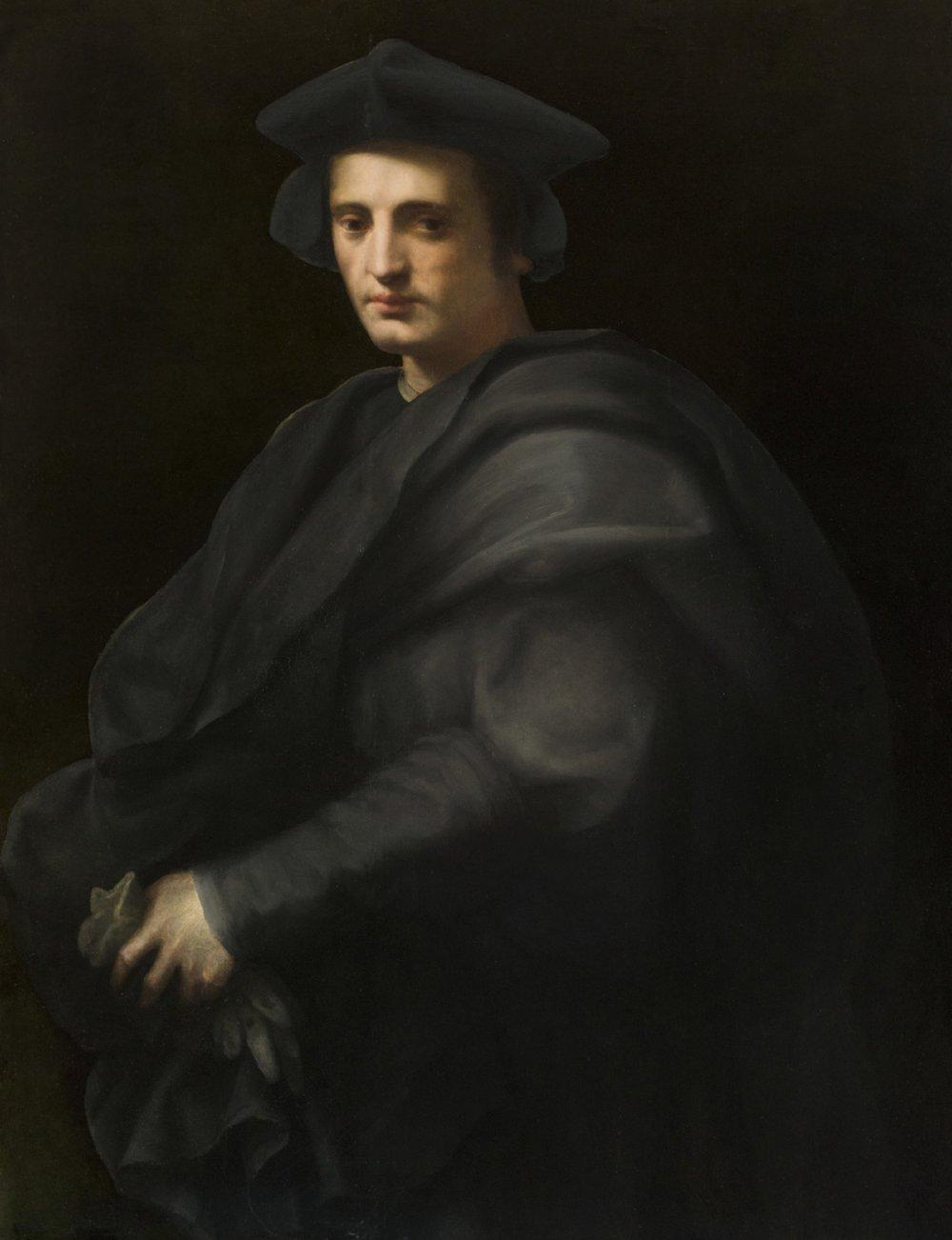 Domenico di Bartolomeo Ubaldini, called Domenico Puligo,  Portrait of a Gentleman in a Gray Hat and Cloak