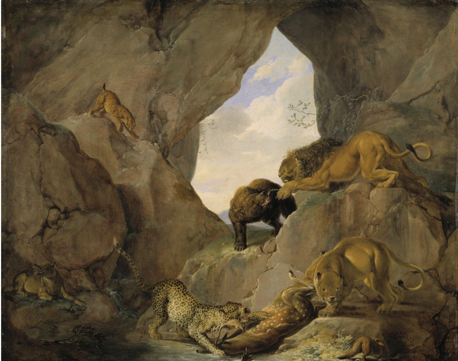 Carl Borromaus Andreas Ruthart,  Wild Animals in a Mountain Gorge  (Nationalmuseum, Stockholm)