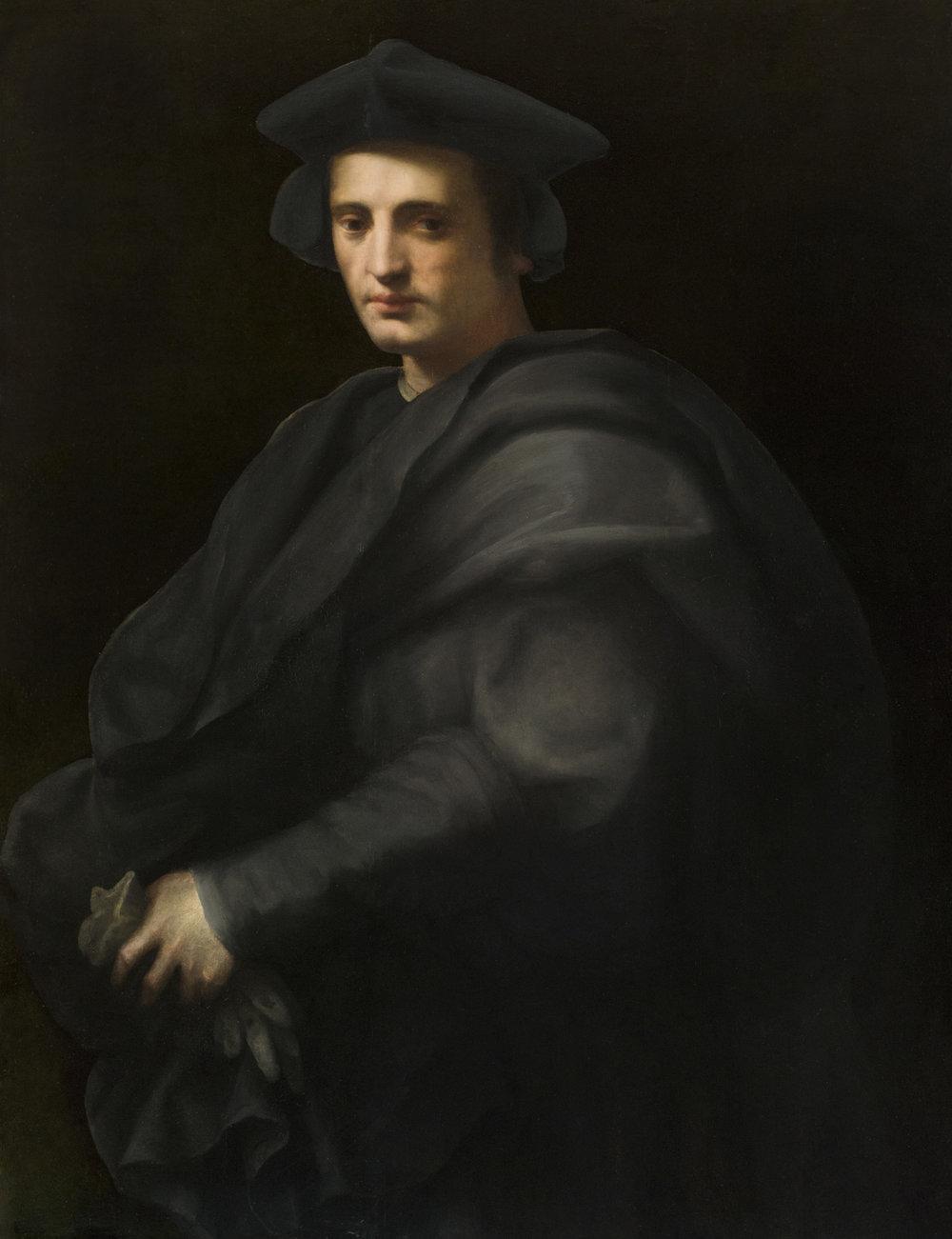 Domenico di Bartolomeo Ubaldini, called Domenico Puligo Portrait of a Gentleman in a Gray Hat and Cloak