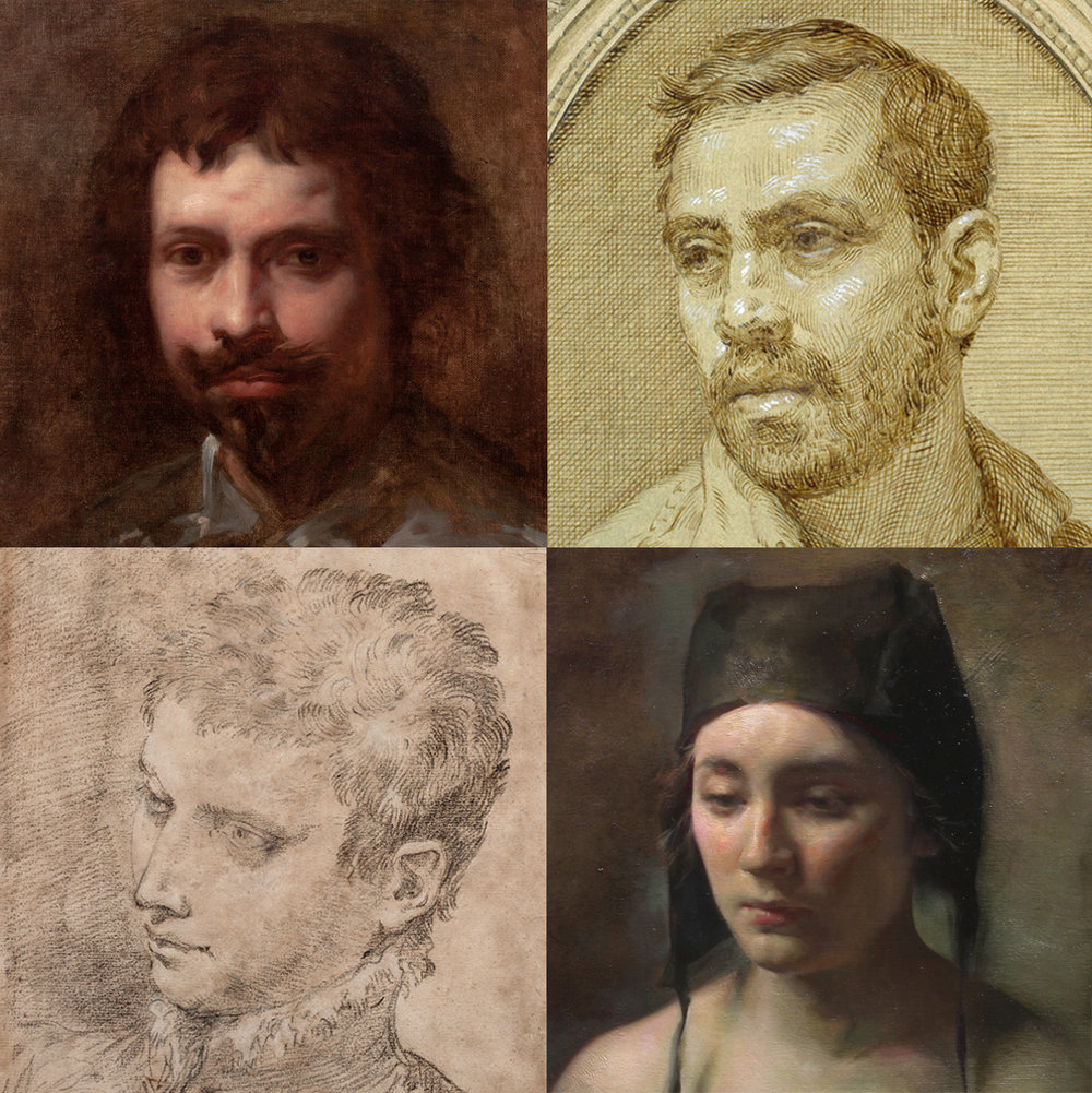 (Clockwise from top left)  Simon Vouet  (Paris 1590-1649)  Portrait of a Young Man , oil on canvas, 16 ¾ x 13 ⅝ inches;   Anthony Baus,   Self-Portrait , 2017, ink and wash on paper, 11 x 15 inches;  Colleen Barry,   Black Hat , 2018, oil on wood, 12 x 12 inches;  Donato Creti  (Cremona 1671 – Bologna 1749)  Study of a Young Man , black chalk with white heightening on paper, 16 ½ x 12 inches. All images are details.