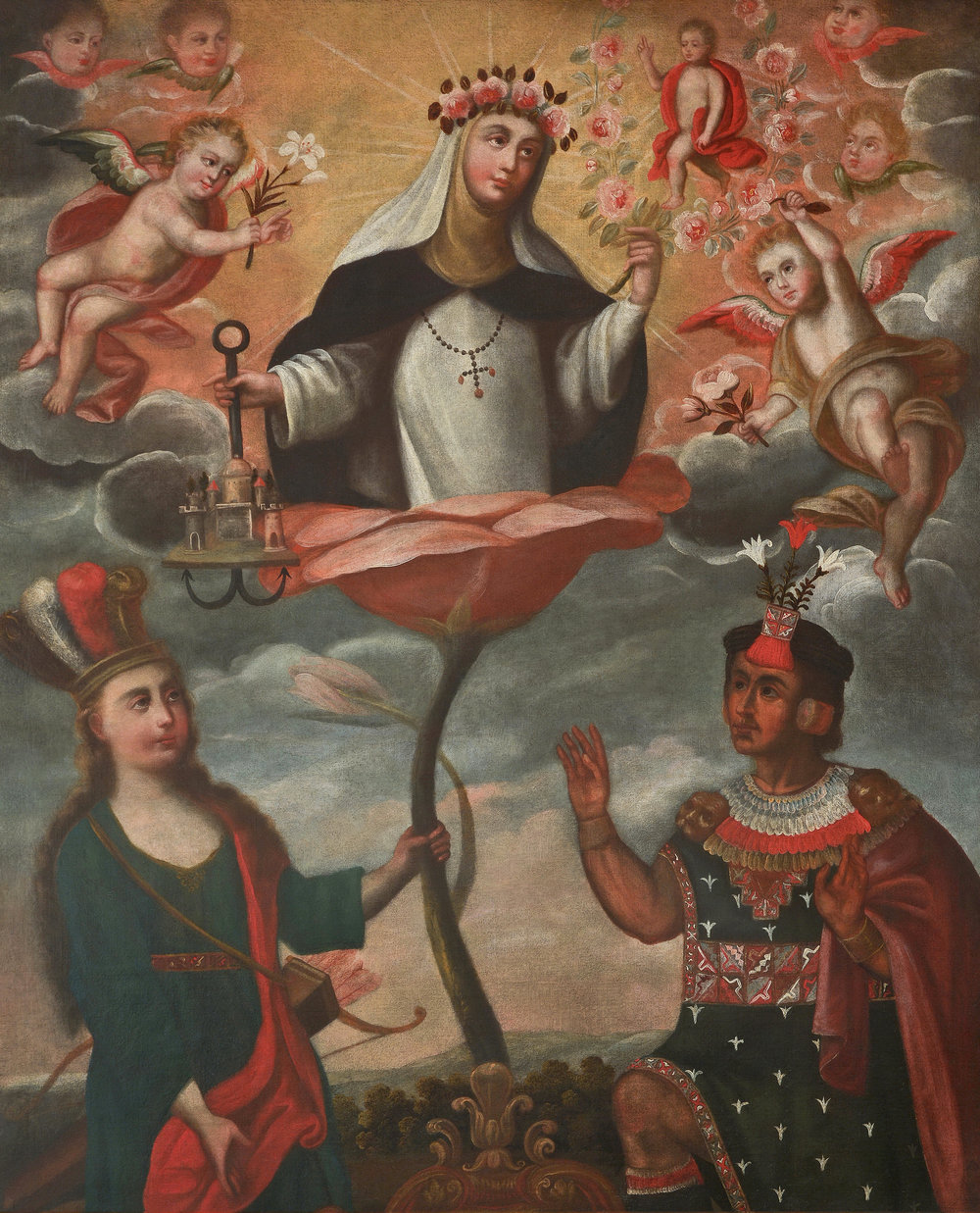 Spanish Colonial, Peruvian, Cuzco School,  An Allegory of Saint Rose of Lima