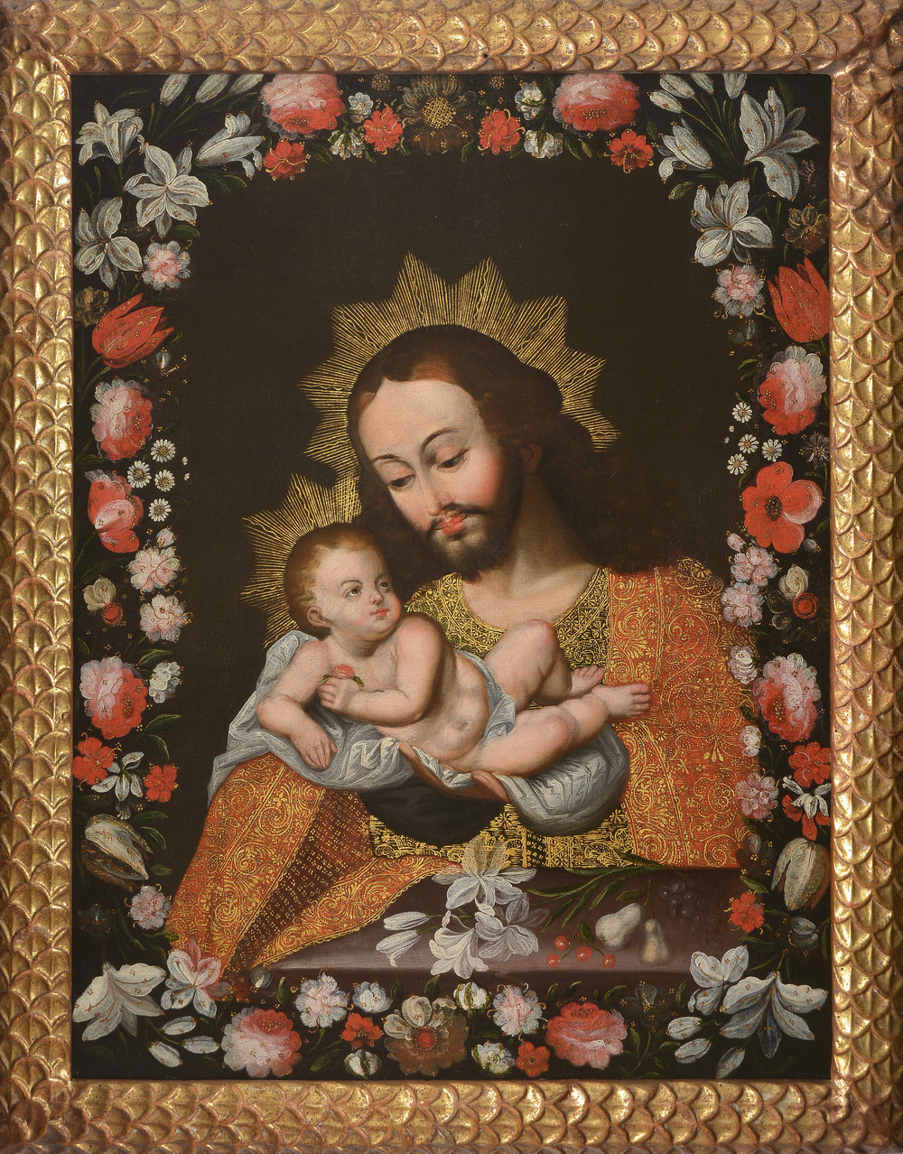 Spanish Colonial, Peruvian, Cuzco School, 17th Century, Saint Joseph and Child