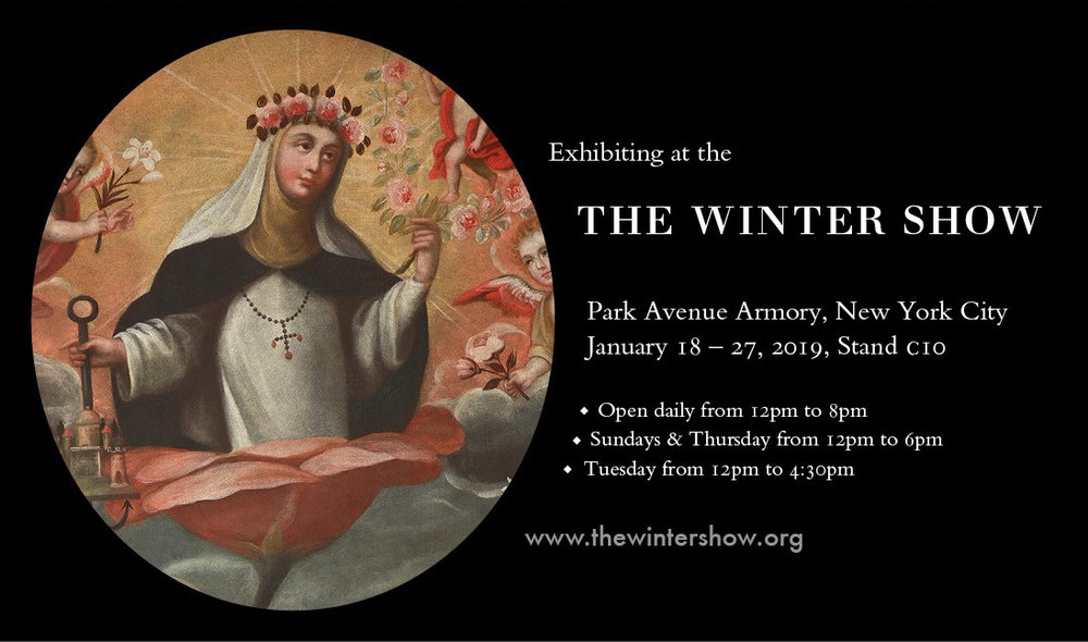 Exhibiting at the  THE WINTER SHOW  Park Avenue Armory, New York City  January 18 – 27, 2019, Stand c10  ◆ Open daily from 12pm to 8pm  ◆ Sundays & Thursday from 12pm to 6pm  ◆ Tuesday from 12pm to 4:30pm  www.thewintershow.org  ROBERT SIMON FINE ART