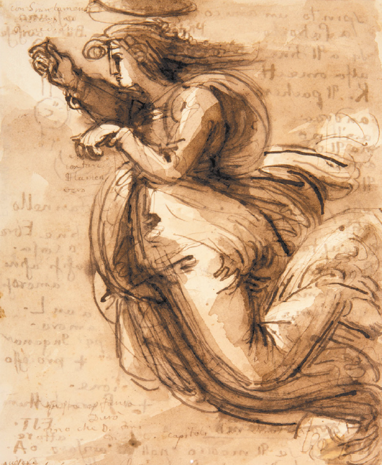Fig. 1. Fortunato Duranti,  Saint in Flight , pen, ink, and wash on paper, 9 4/5 x 7 ½ inches (25 x 19 cm), Fermo, Biblioteca Comunale, inv. 1504.