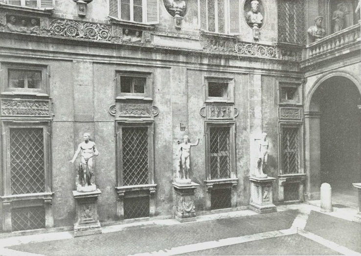 The east wall in the courtyard of Palazzo Mattei di Giove, Rome, shown after the relief was removed.