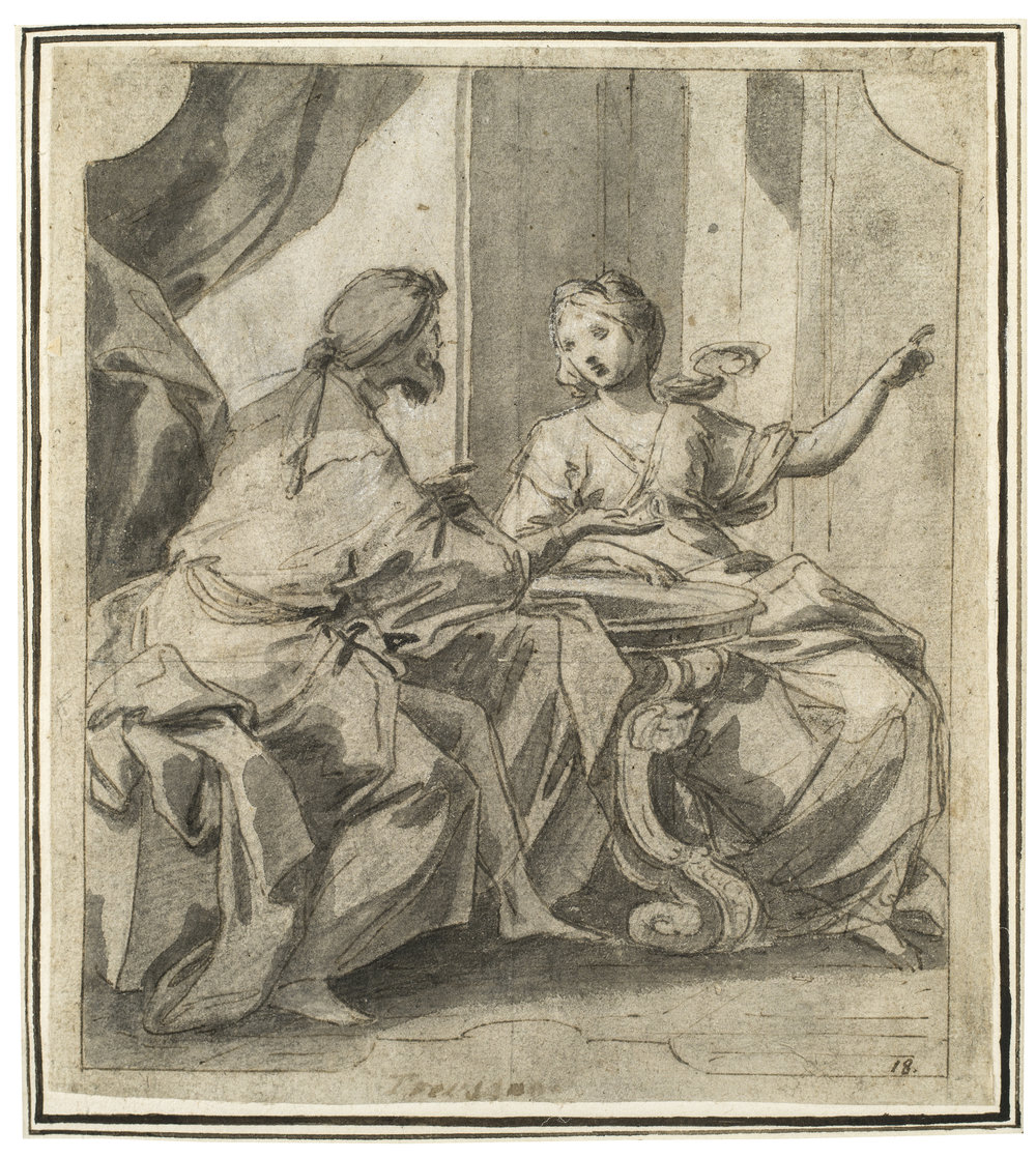Francesco Trevisani,  Interior with a Man and a Woman Seated at a Table in Conversation