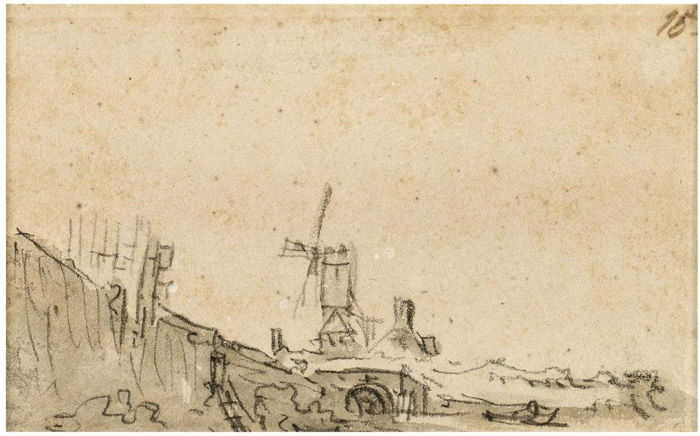 Jan Van Goyen,  A Windmill above an Arched Bridge, at left a Quay Wall