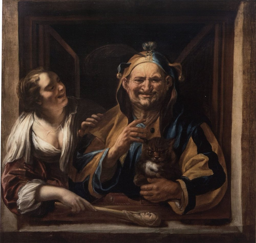 Jacob Jordaens, A Jester, Woman, and Cat in a Window, oil on canvas, 45½ x 43 ¾ inches (111.1 x 115.9 cm), private collection, Madrid.