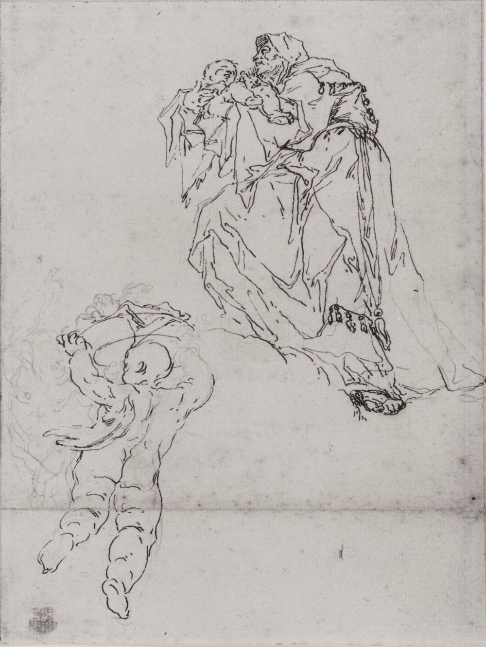 Fig. 3. Paul Troger,  The Prophetess Anna with the Christ Child and Two Putti , pen and ink over pencil, 8.5 x 6.5 inches, Germanisches National Museum, Nuremberg