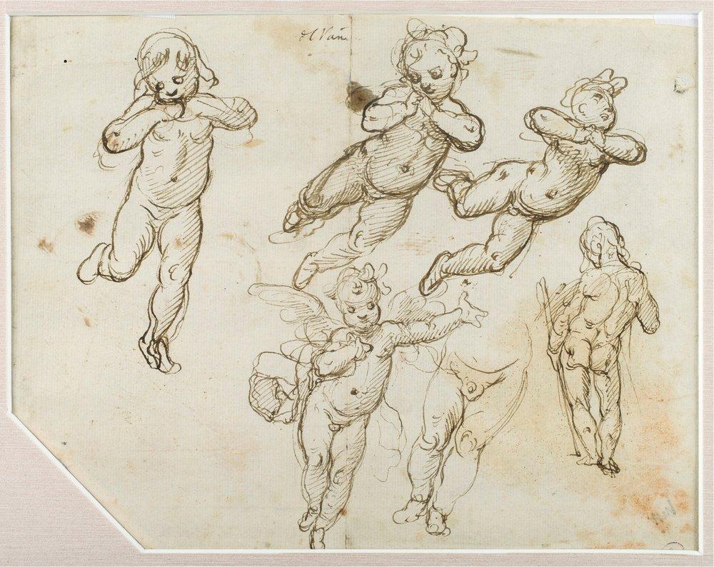 Alessandro Casolani,  Studies of Putti in Various Poses