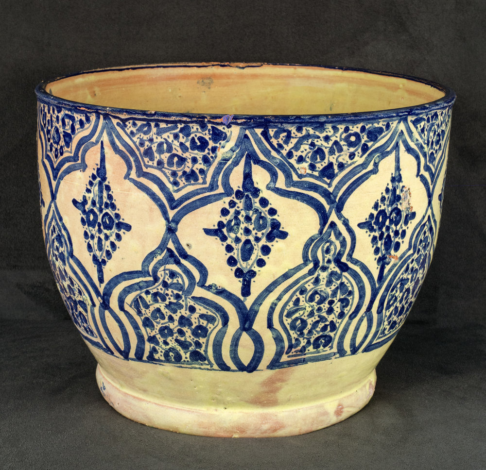Mexican Talavera Poblana Ceramic, Tall bowl with Moorish-inspired designs