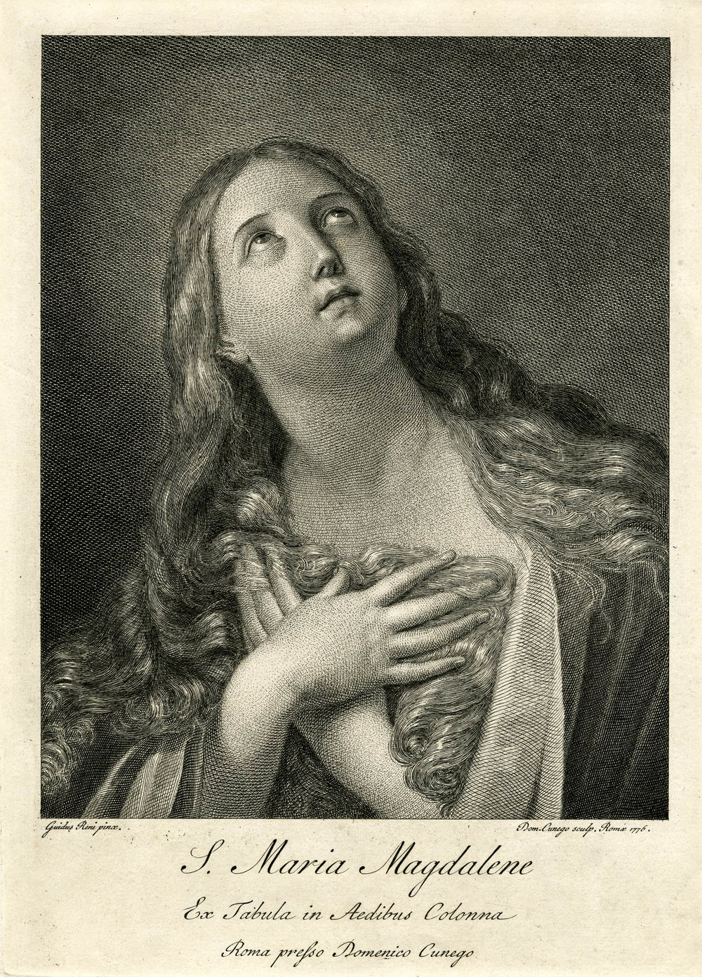 Domenico Cunego print after Guido Reni, Mary Magdalene, Colonna Gallery