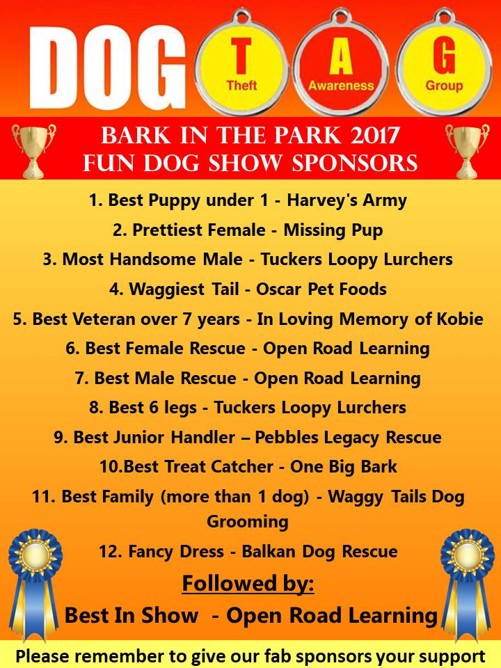 Official dog show categories & their generous sponsors. Please support by giving them a 'like', a tweet, a share or a webpage visit if you can, Thank you peeps & furbies, the Dog TAG Girlz x