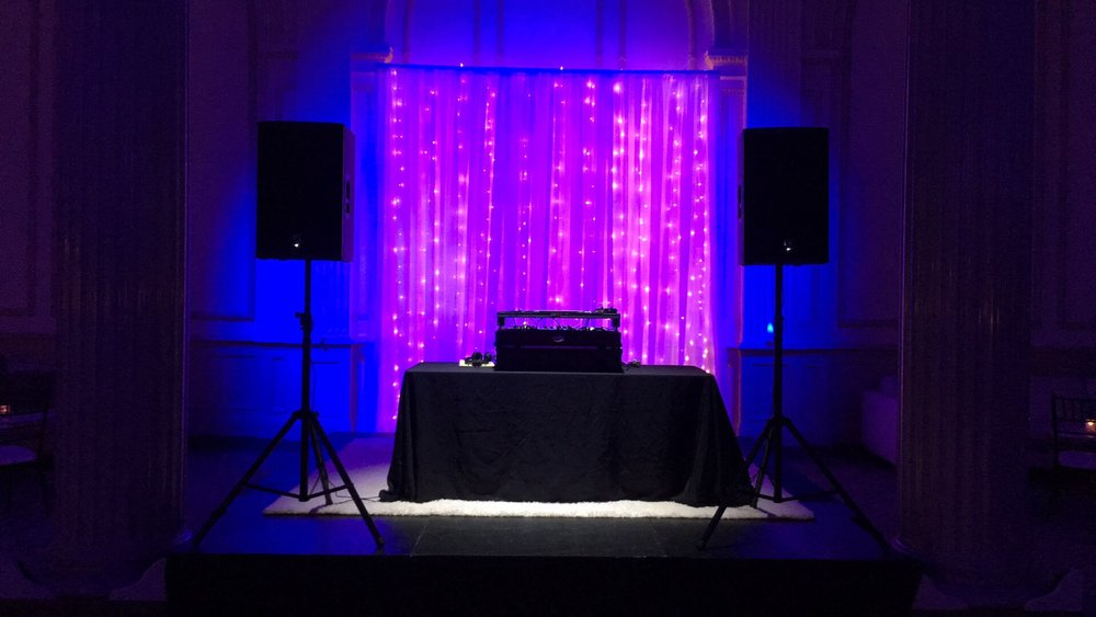 Our base reception package includes a premium sound system with wireless microphones and  4 hours of music and announcements mixed by a professional and courteous, well dressed  DJ/MC. .                                                $700