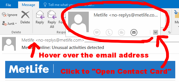 Phishing email from MetLife 1