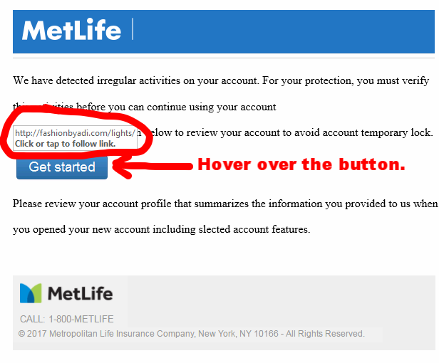 MetLife email phishing scam 1