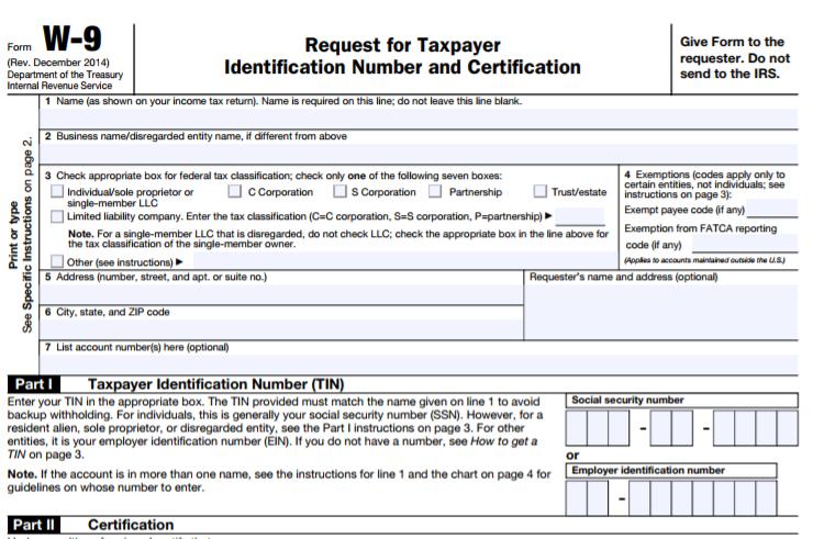 W9 Tax form -