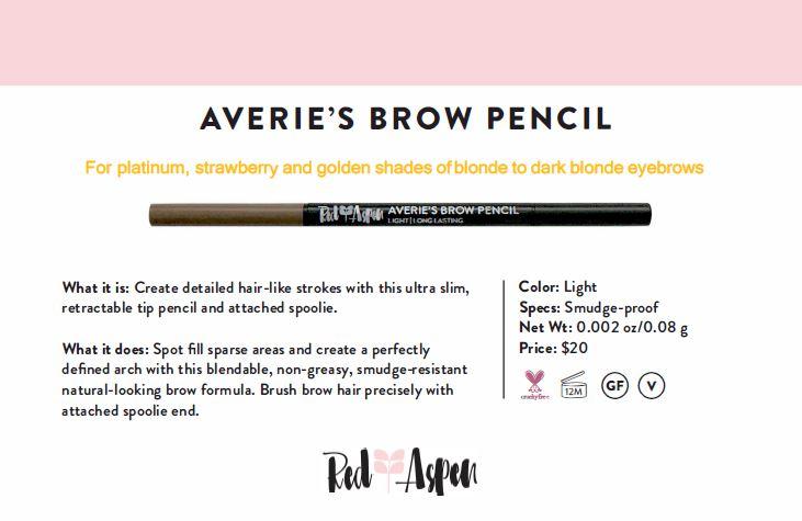 Spec Sheet Averie's Brow Pencil: Light -