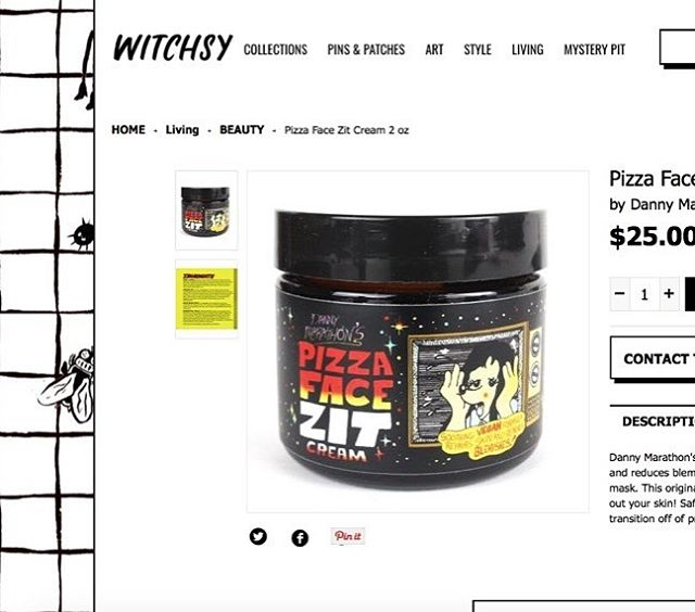 Excited to share that @pizzafacezitcream is now featured on @shopwitchsy! This site's story kinda went viral due to them inventing a fake male CEO. Anyhoo, happy to be a part of it! #dannymarathon #pizzafacezitcream #witchsy