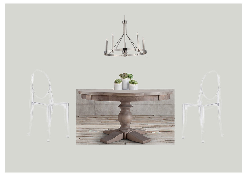 Wall color  /  Chandelier  /  Dining chairs  /  Dining Table