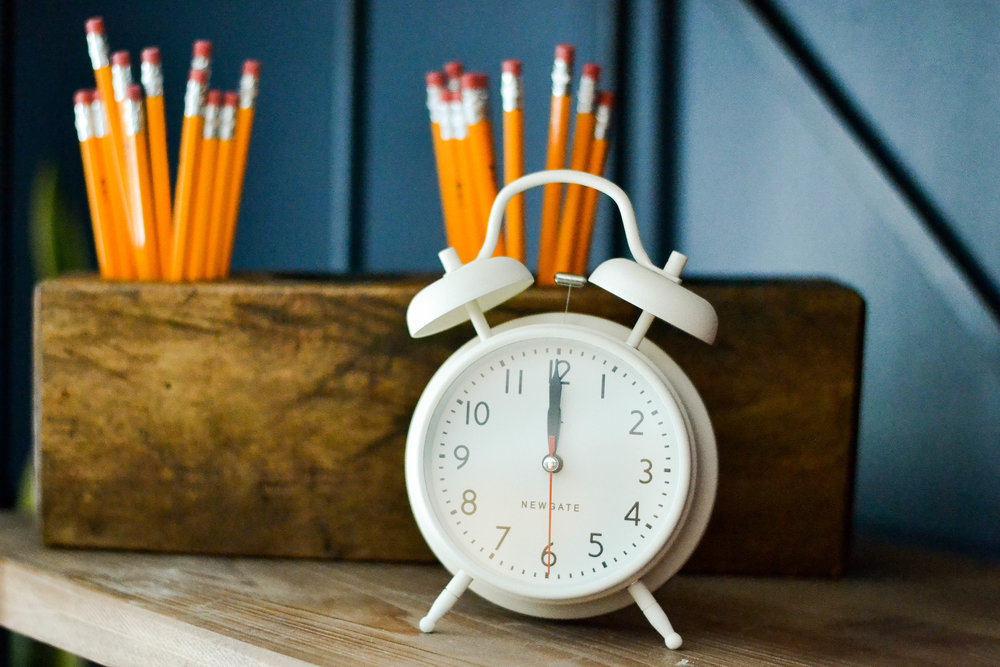 Mayberry Project alarm clock and pencils
