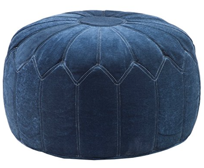 Blue velvet ottoman pouf on Amazon