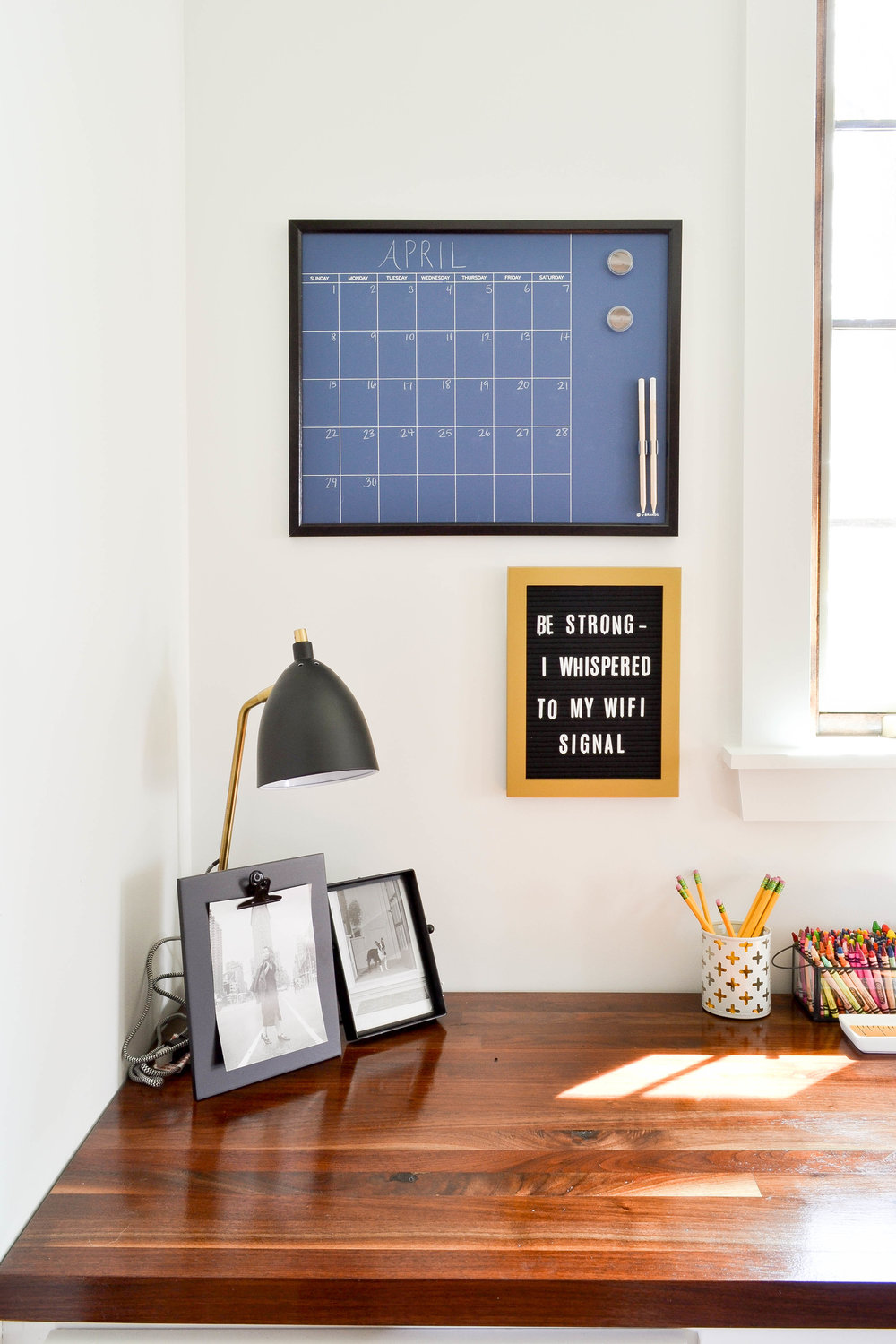 Gray Oak Studio Pilgrim Project Office Letterboard and calendar