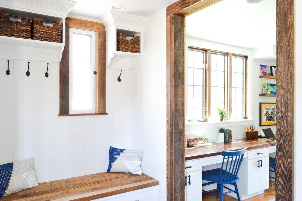 Gray Oak Studio - Pilgrim Project Mudroom - Built-in bench and cubbies