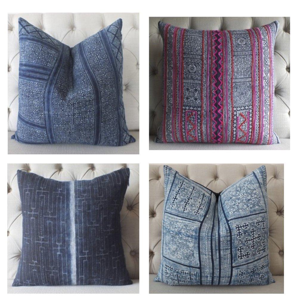 Gray Oak Studio - Wednesday Five - Thai Batik Handprinted Textile Pillow Covers