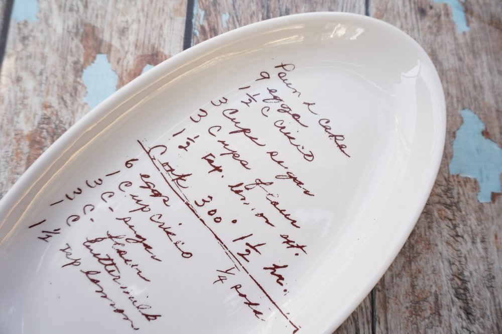 Gray Oak Studio - Wednesday Five - Personalized Serving Dish with Recipe