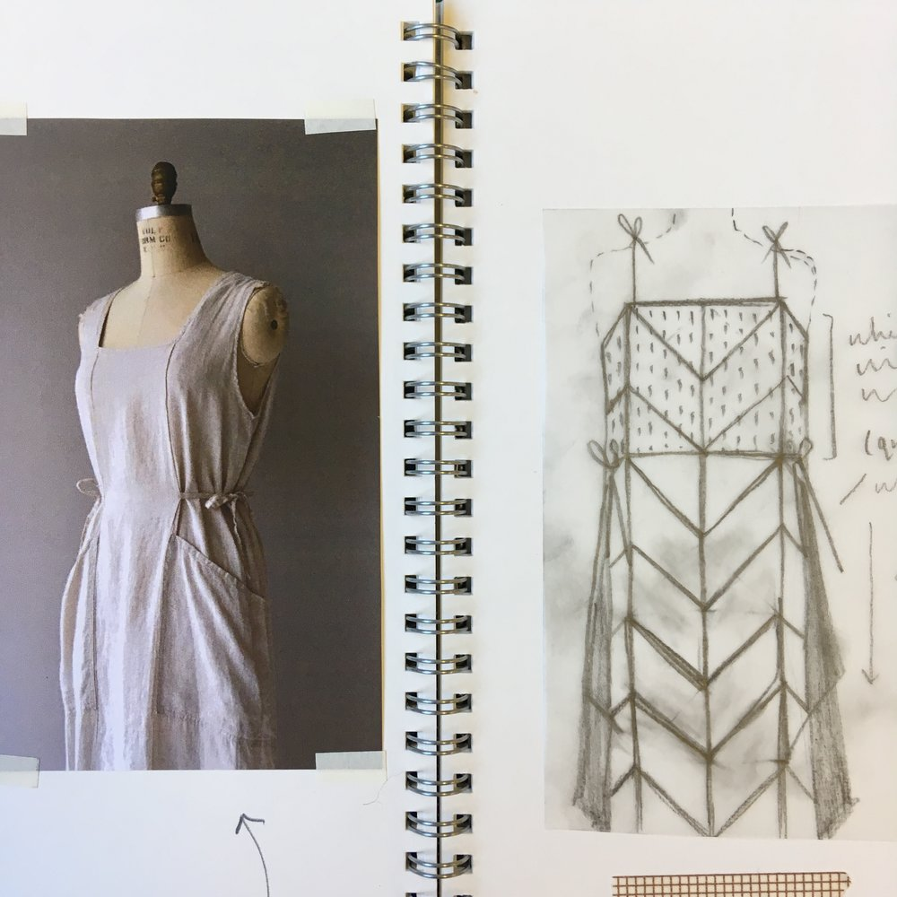 Original top fitting and sketchbook images of the design process.  Dress on the left of this image was the inspiration for the basic shape/function of the dress.