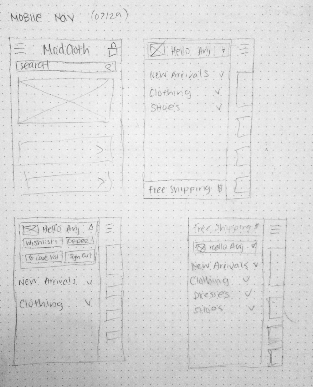 Initial sketches for a new navigation pattern