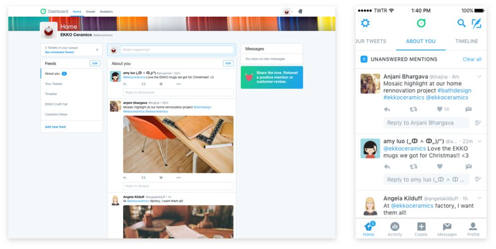 About you tab with badging to encourage businesses to respond to Tweets