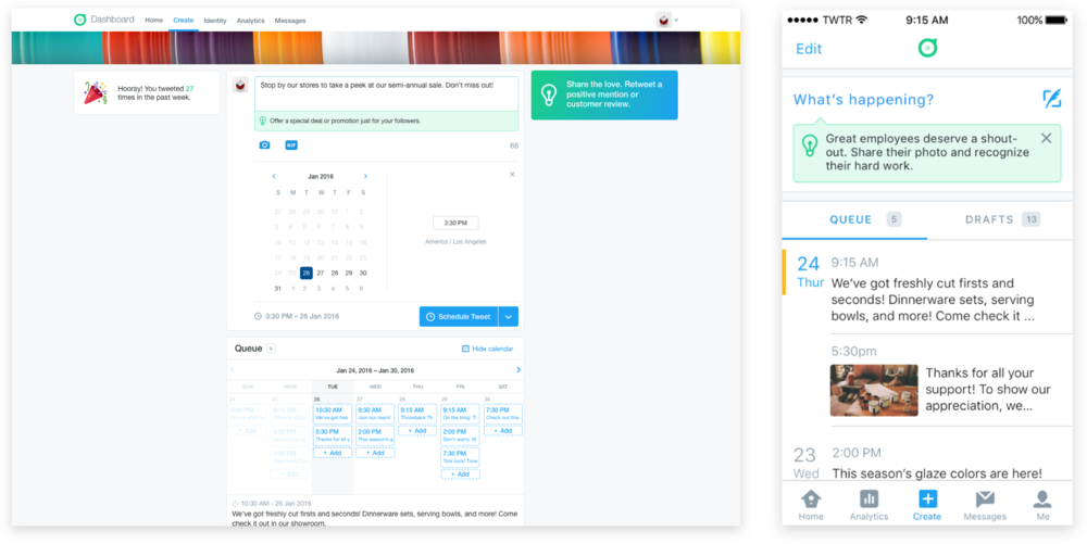 Tweet prompts and calendar view to plan out Tweets