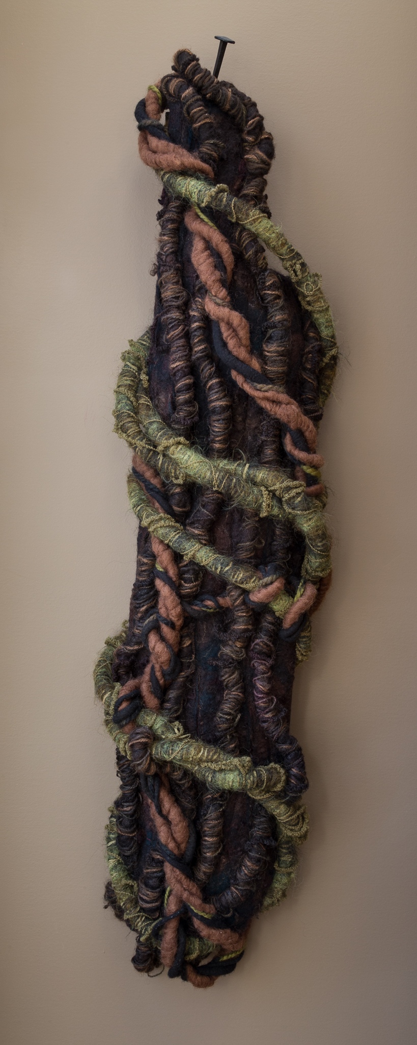 strangled   handmade felt, mixed media  48 x 13 x 5