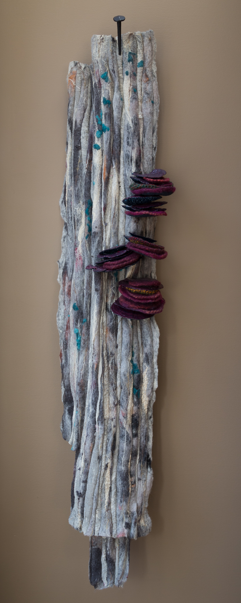 decomposed   handmade felt, mixed media   50 x 10 x 8