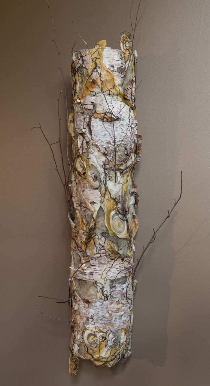 birch 'autumn'   handmade felt, mixed media  43 x 11 x19