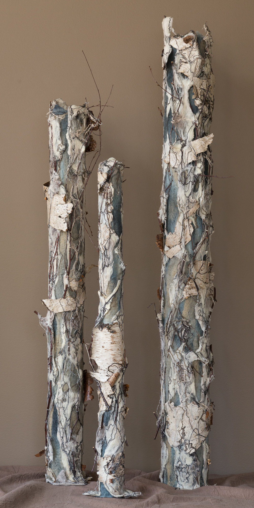 birch trio 'winter'   handmade felt, mixed media  46 x15 x15