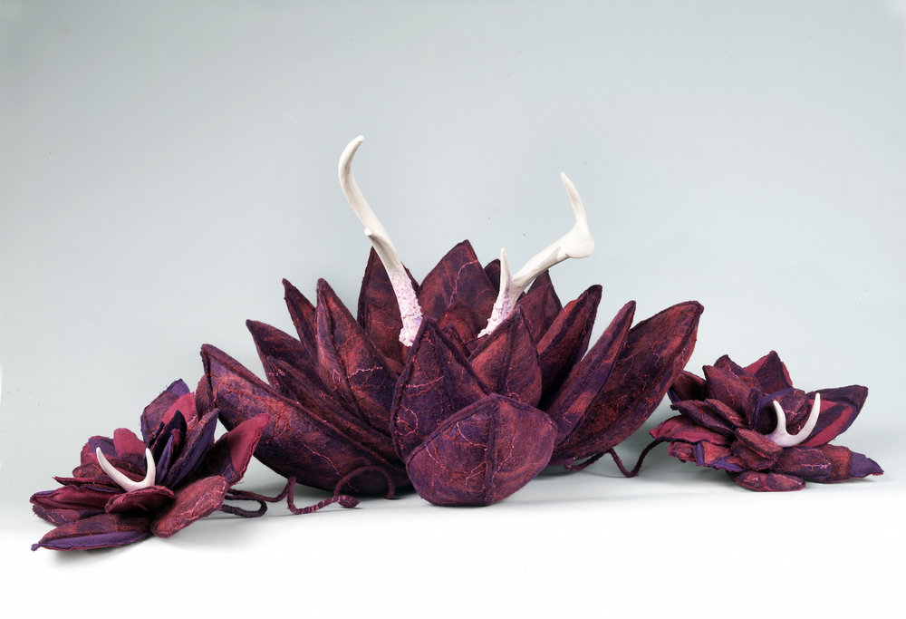 agave 'doe and fawns' handmade felt, antler, polymer clay 13 x36 x15