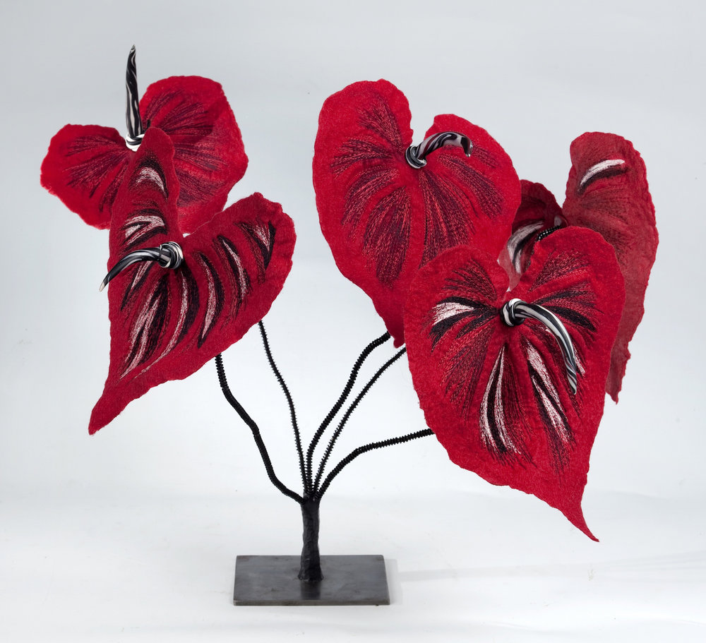 anthurium 'zebra' handmade felt, mixed media 21 x23 x22
